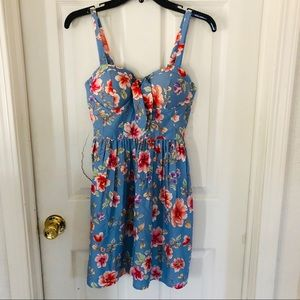NWT BAND OF GYPSIES  blue floral dress size small